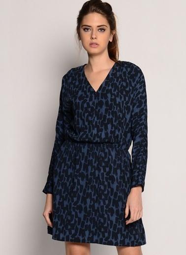 Asymmetry V Yaka Desenli Mini Elbise Mavi